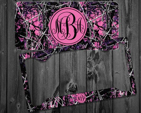 Purple Pink Camo Muddy Mardi Monogram License Plate Frame Holder Metal Wall Sign Tags