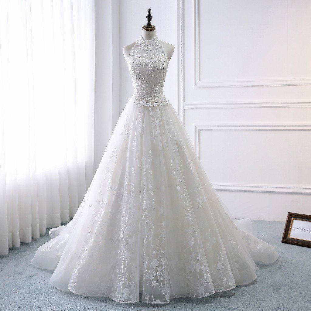 Charming Bridal Gowns Vintage Lace A Line Wedding Dress Halter Etsy Lace Wedding Dress Vintage Bridal Gowns Vintage Modest Wedding Gowns