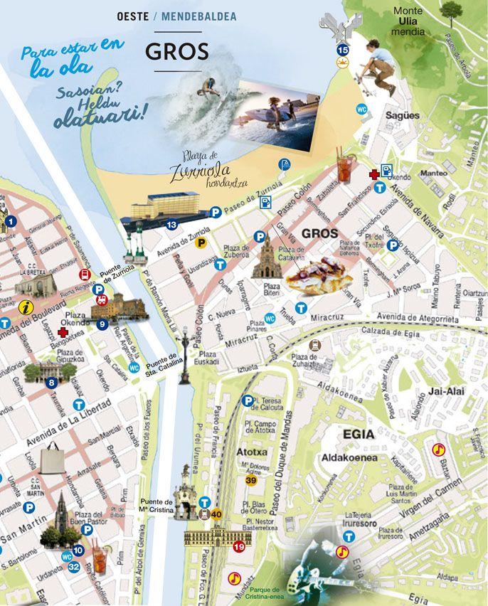 Gros Map #SanSebastian #Euskadi #Tourism | San Sebastián, district ...