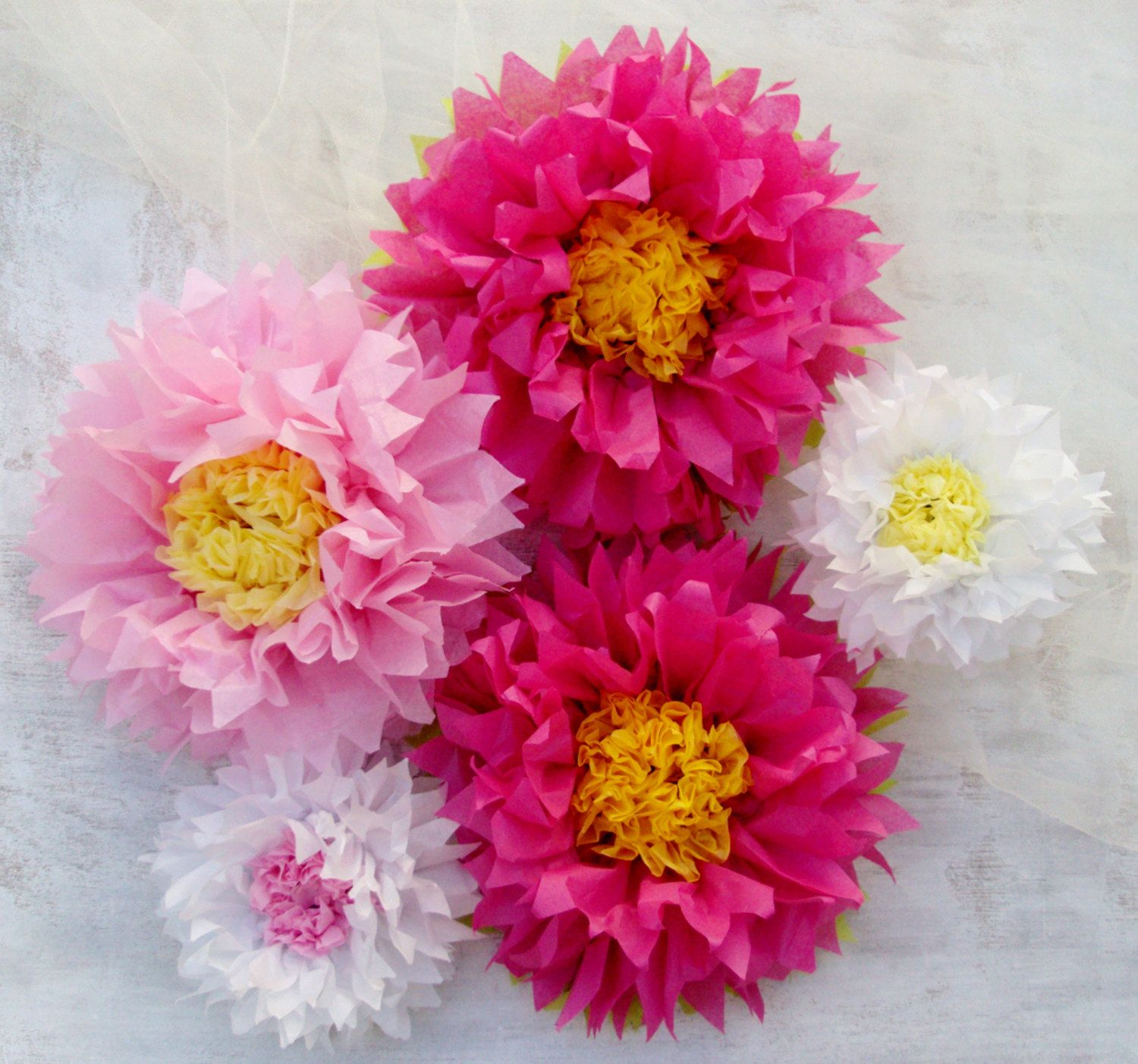 Easter Decor 5 Tissue Paper Flowers Pink And Baby Pink Perfect
