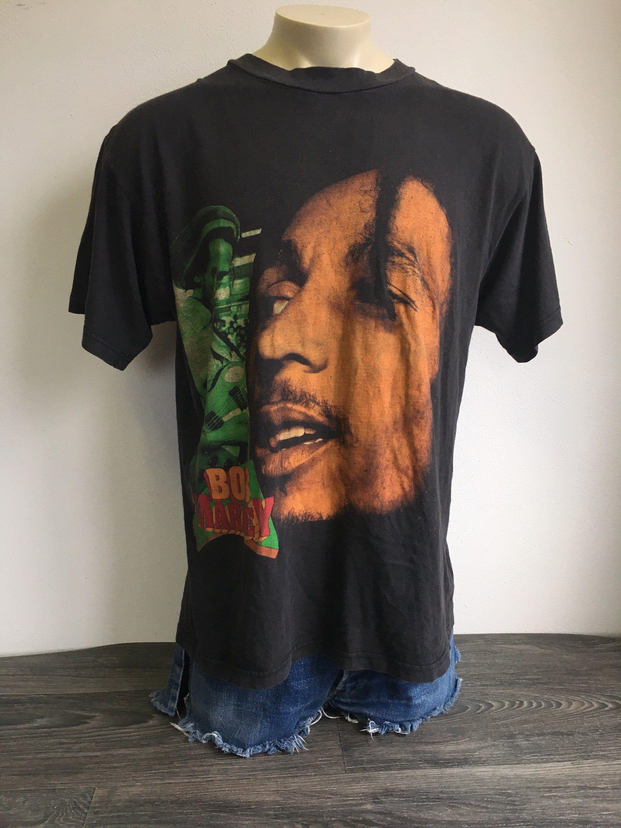 Vintage BOB MARLEY Shirt 90s RARE! Rap Tee Bootleg Rasta Reggae Double  Sided Tshirt No Woman No Cry Size X-Large by sweetVTGtshirt on Etsy 04dca2494