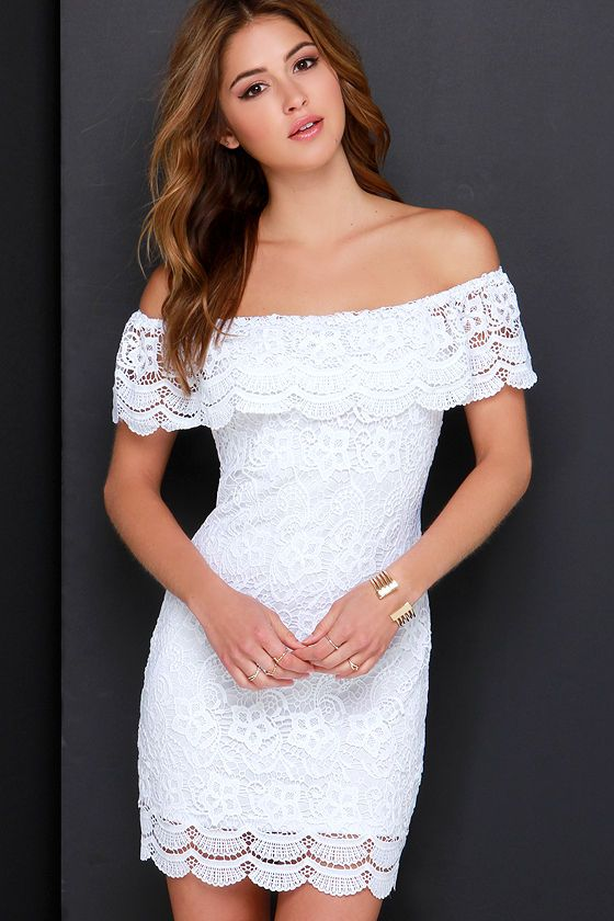 ed8b5c41a75d Islands in the Stream White Lace Off-the-Shoulder Dress at Lulus.com!