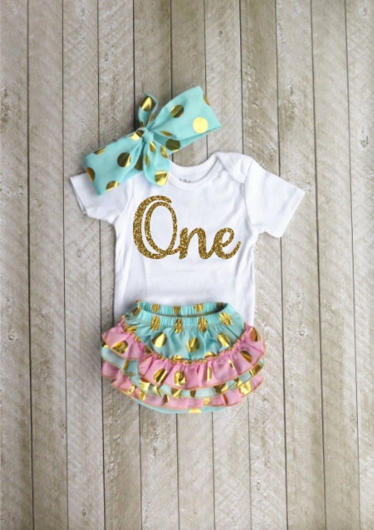 Mint and gold first birthday outfit One year old outfit Baby