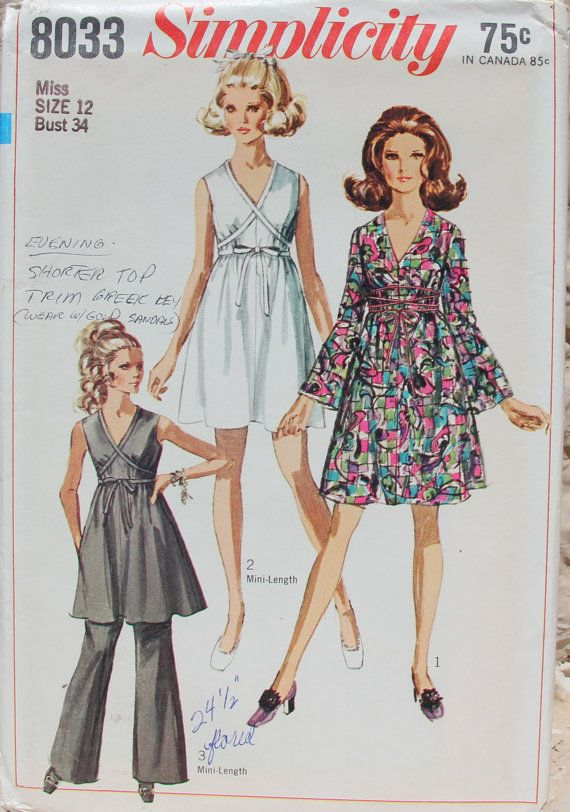 1968 Uncut Sewing Pattern Simplicity 8033 Dress, Tunic and Bell-Bottom Pants Size 12 Bust 34 on Etsy, $15.00