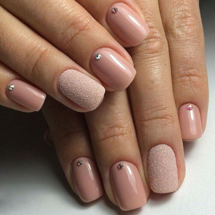 Accurate nails, Beautiful nails, Beige gel polish, Beige nails with rhinestones, Beige wedding nails, Ideas of gentle nails, Manicure on the day of lovers, Natural nails