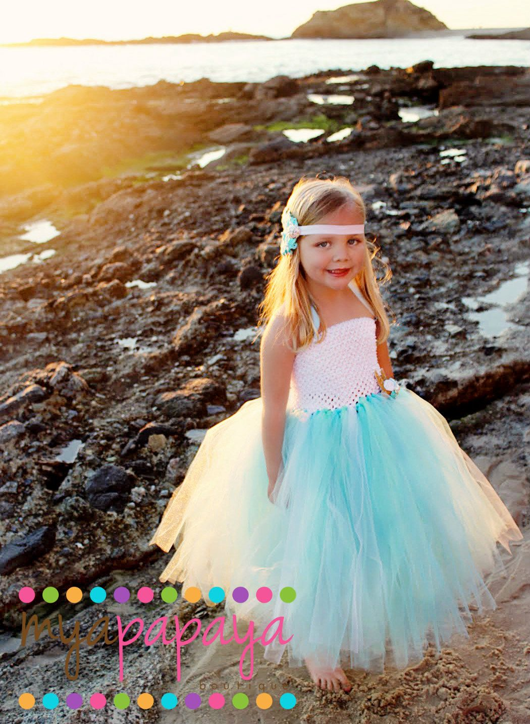 Beach wedding flower girl dresses  Mermaid Tutu Dress monthst Birthday Costume Photo shoot