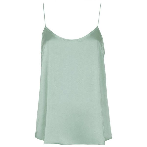TOPSHOP Petite Satin Cami ($20) ❤ liked on Polyvore featuring tops, tank tops, shirts, cami, sleeveless tops, petite, pistachio, green cami, satin camisole and strappy cami