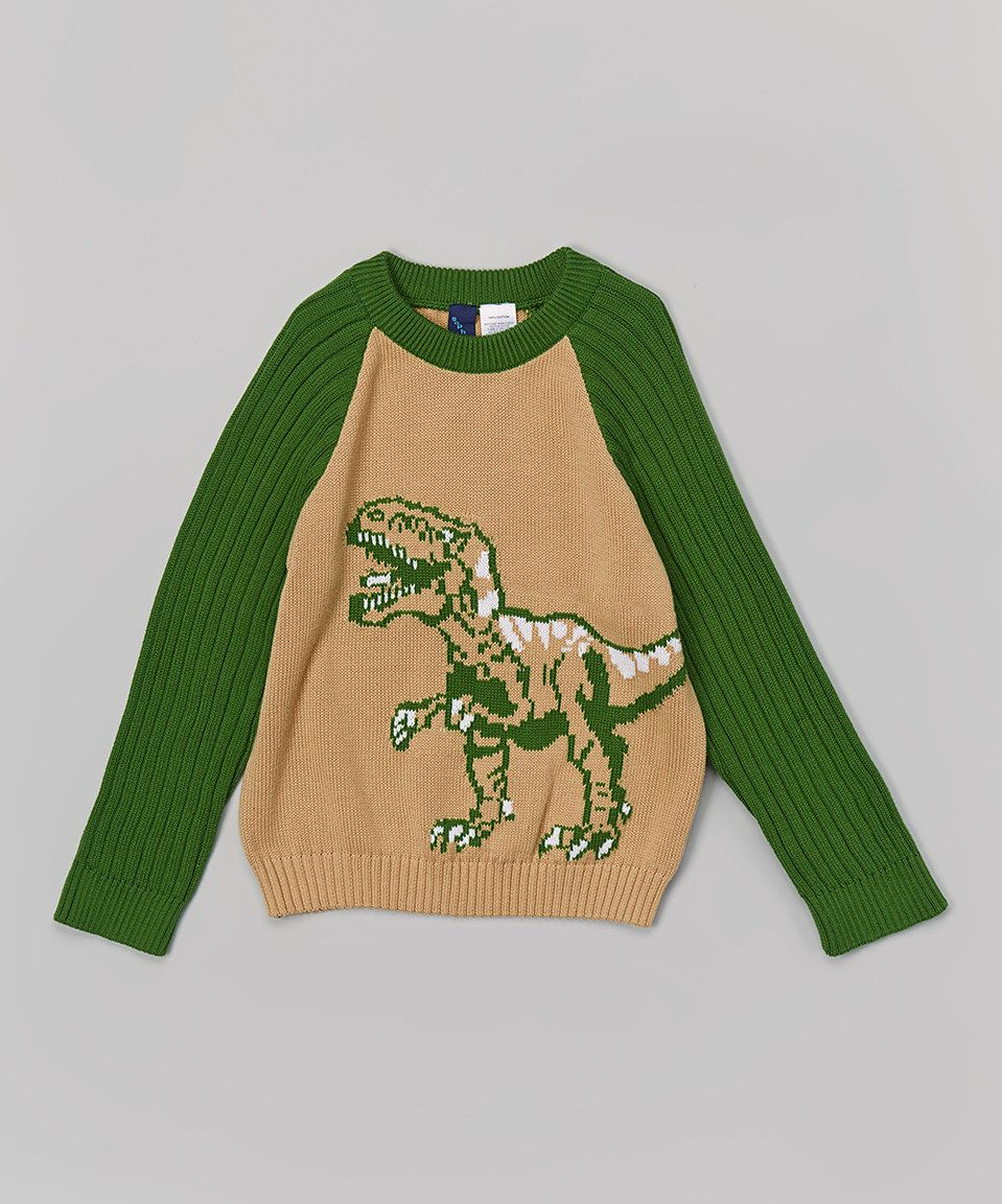 Tan & Green Dinosaur Sweater - Infant, Toddler & Boys by Sophie & Sam #zulily #zulilyfinds