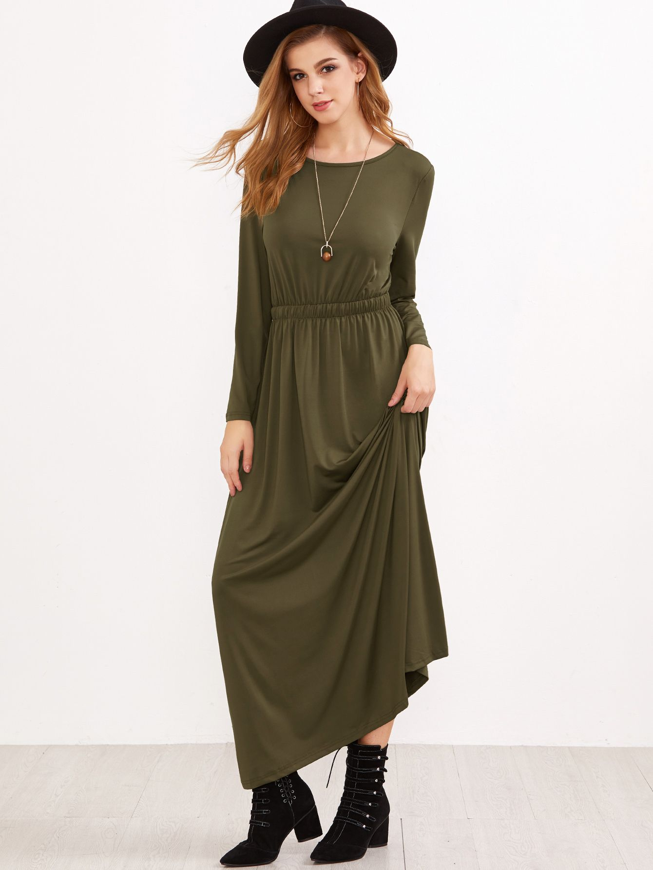 2746339b2a Shop Army Green Elastic Waist Maxi Dress online. SheIn offers Army Green  Elastic Waist Maxi Dress & more to fit your fashionable needs.