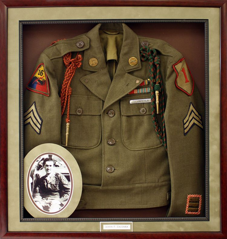 Military jacket framed in mahogany shadowbox with suede mat boards ...