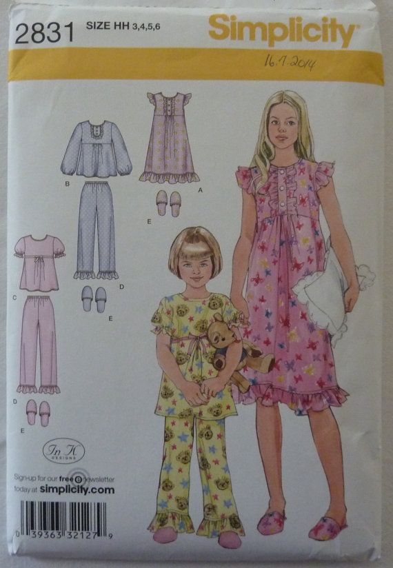 Sewing Pattern Simplicity 2831 - Child and Girls Nightgown, Pajamas ...
