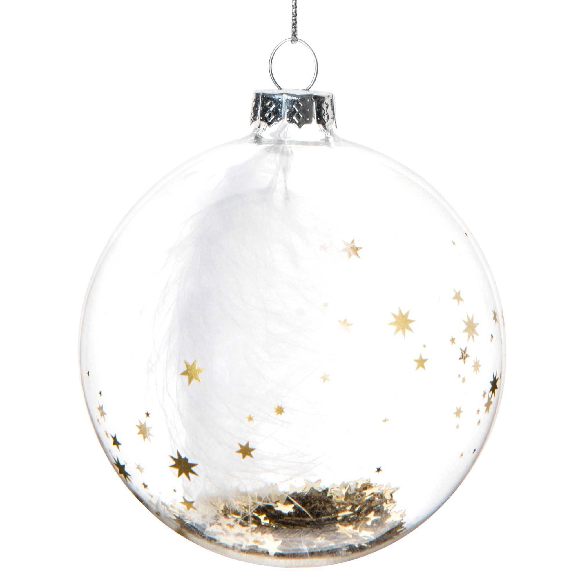 Boule de no l transparente en verre 8 cm starry night for Boules de noel maison
