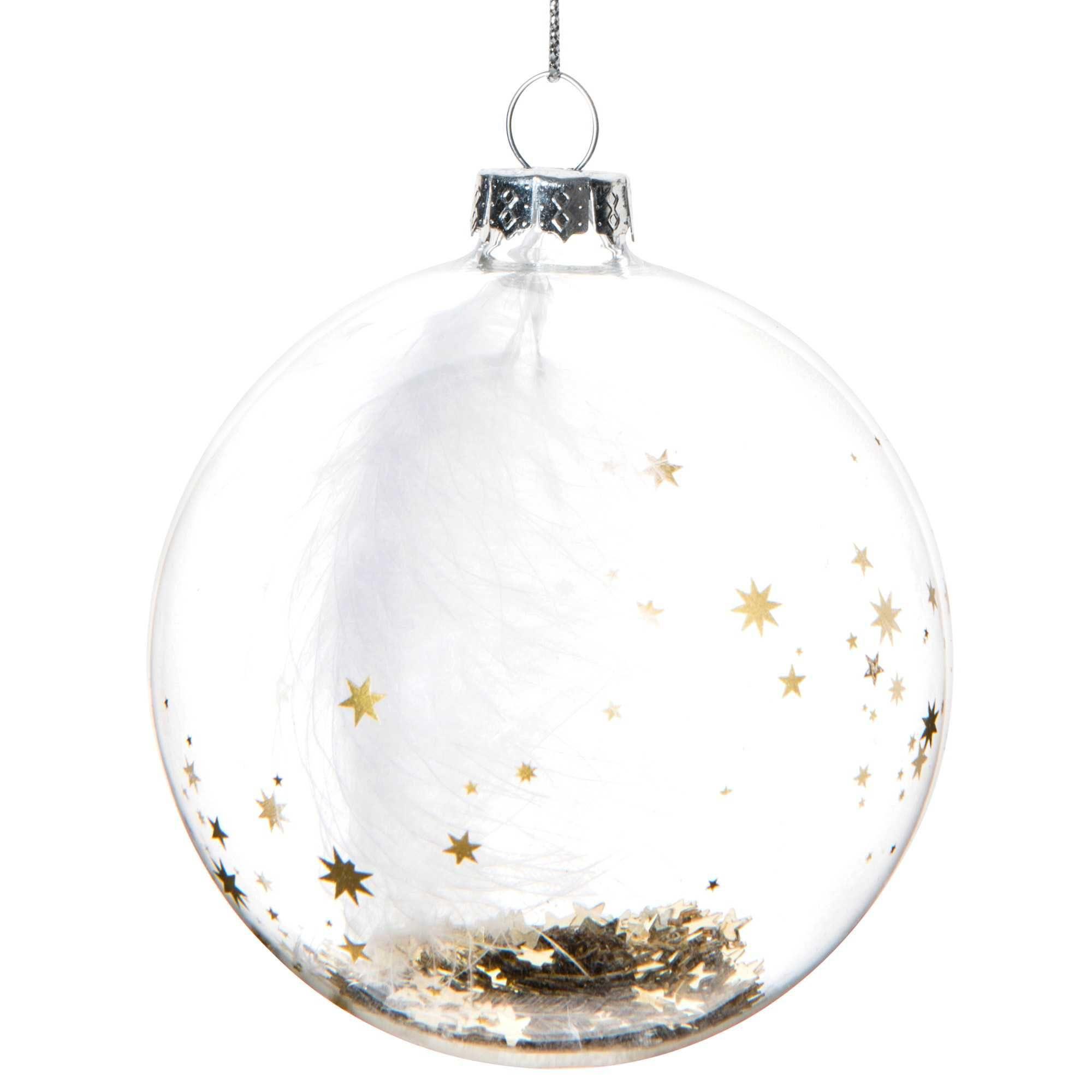 Boule de Noël transparente en verre 8 cm STARRY NIGHT   Vendu par