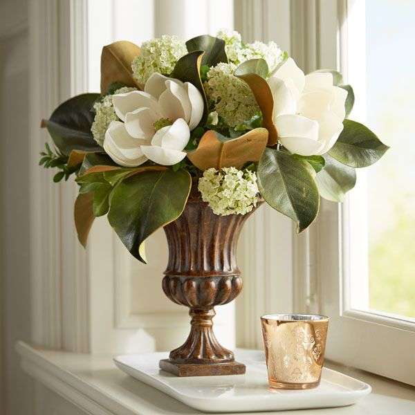 Magnolia Arrangement In Fluted Urn Church Flower Arrangements Floral Arrangements Diy Artificial Flower Arrangements