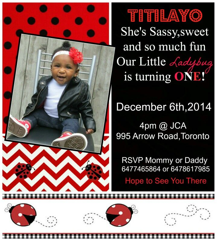 Ladybug Invitation I made for my daughters 1st Birthday #1stbirthday #ladybugtheme
