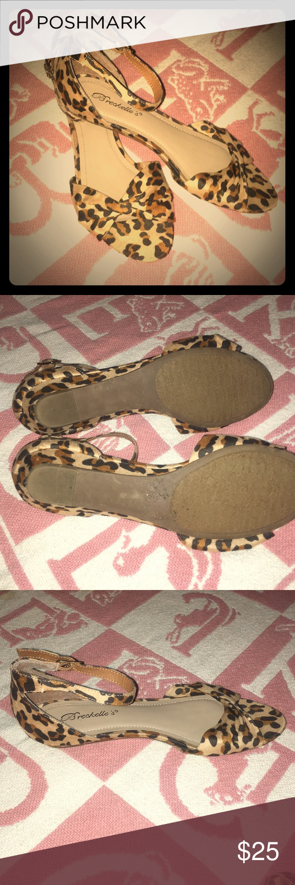 Breckelle's Leopard shoes! Super cute leopard sandals with ankle strap. Worn once. Good condition. Size 8 Breckelles Shoes Sandals #leopardshoesoutfit