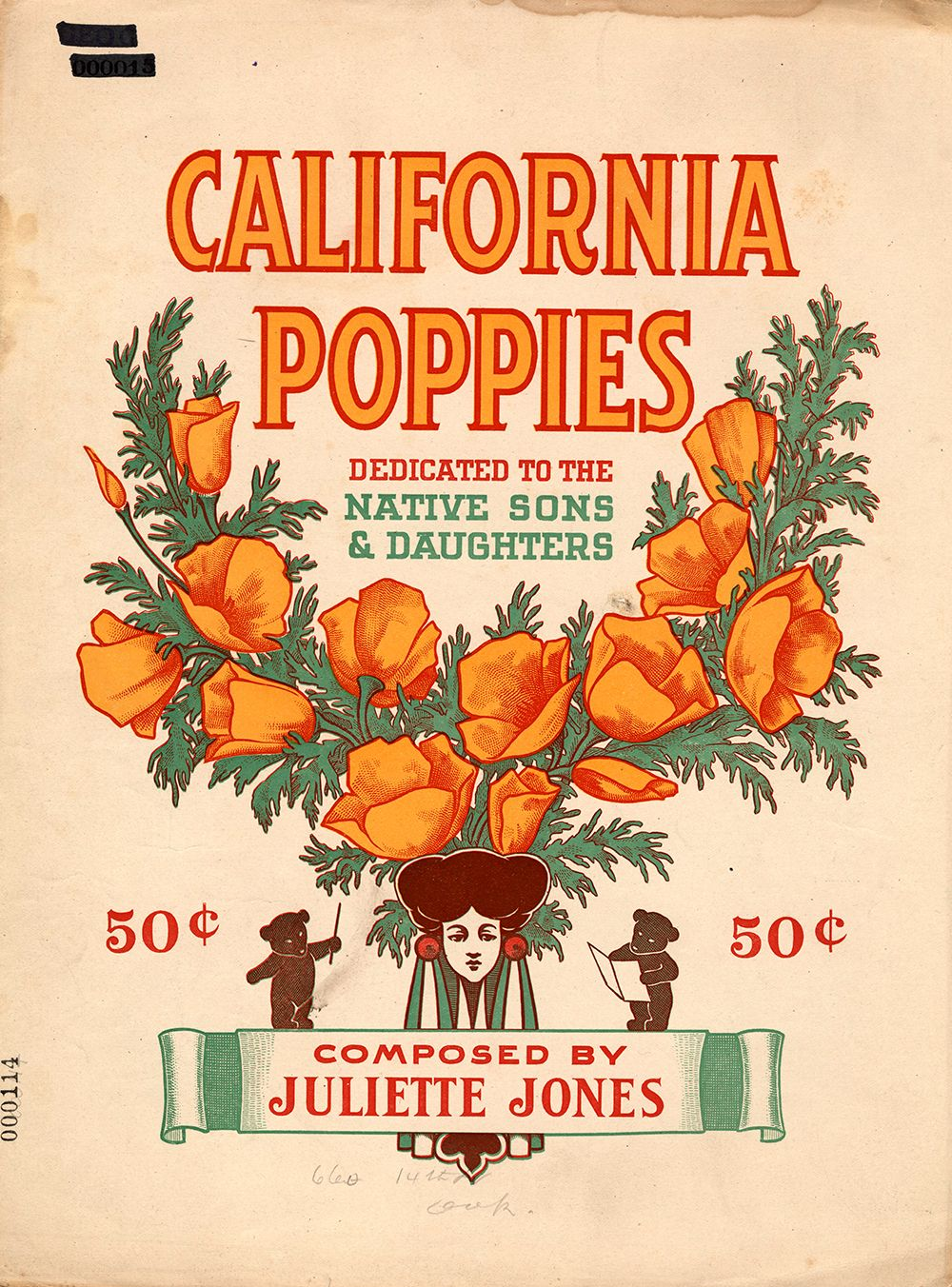 """""""California Poppies: Dedicated to the Native Sons and Daughters"""" composed by Juliette Jones, 1910."""