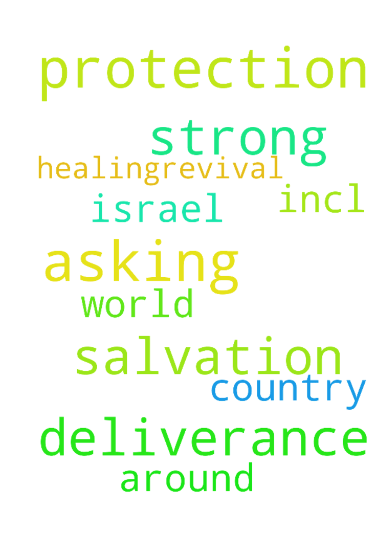 asking for strong protection, salvation, deliverance, - asking for strong protection, salvation, deliverance, healing....revival all around the world incl. Israel and my country.  Posted at: https://prayerrequest.com/t/DPT #pray #prayer #request #prayerrequest
