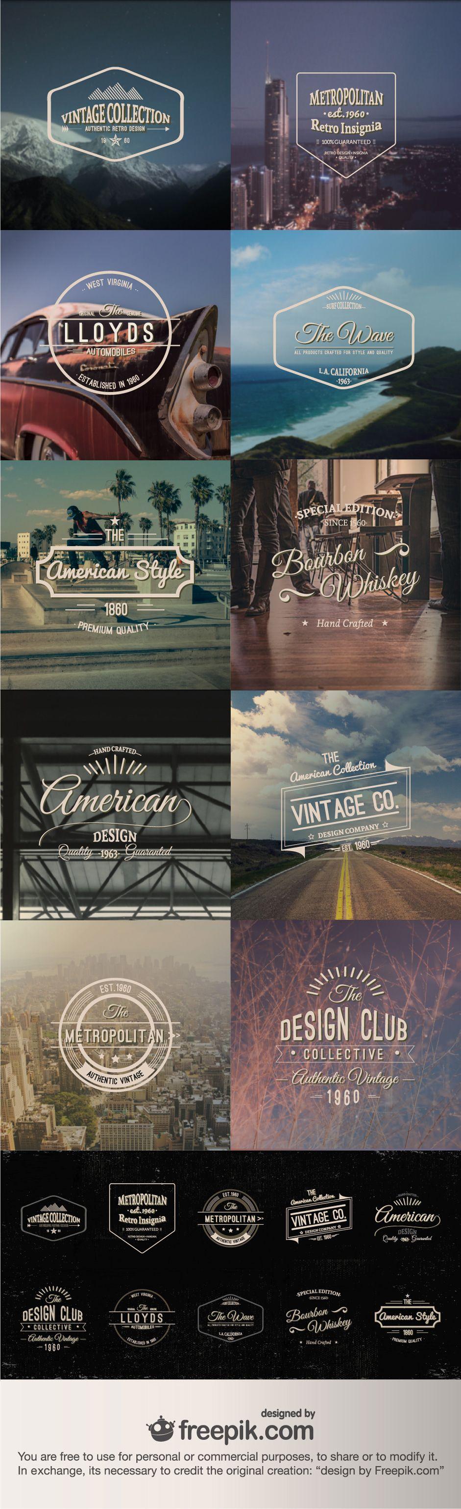 Retro Vintage Insignias: A Vector Freebie From Freepik | Design