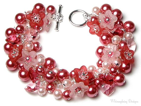 Pink Hearts & Flowers Swarovski Crystal Pearl Charm Bracelet