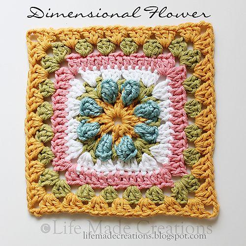Dimensional Flower Granny Square pattern by Rhonda Rowley | Crochet ...