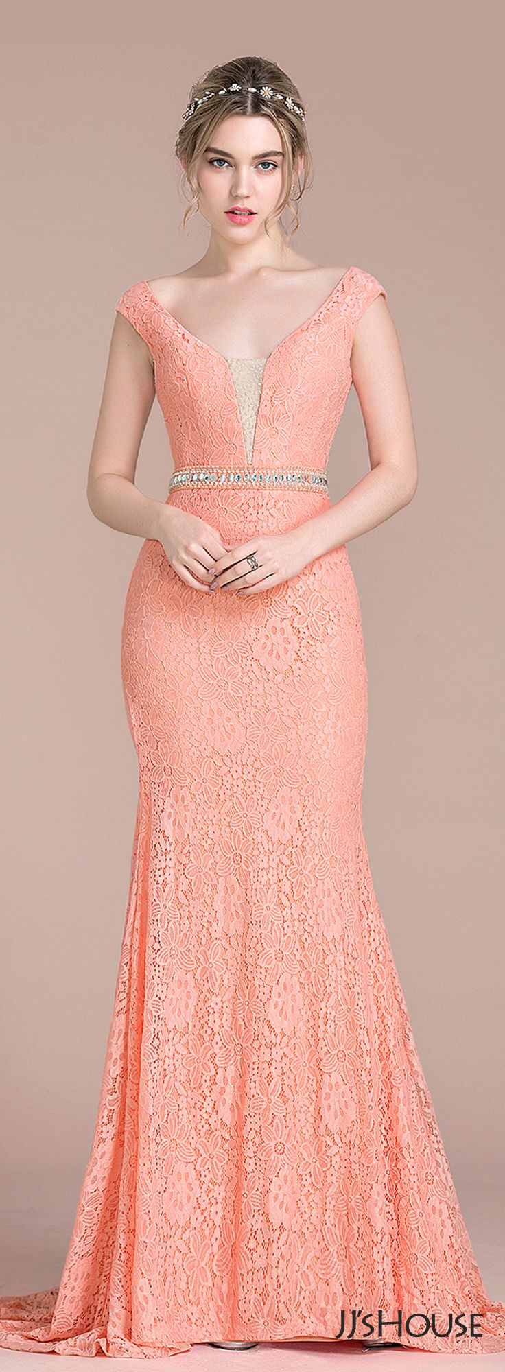 Trumpet/Mermaid V-neck Sweep Train Lace Prom Dresses With Beading ...