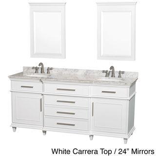 Berkeley 72-inch White Double Bathroom Vanity | Overstock.com Shopping - Great Deals on Wyndham Collection Bath Vanities