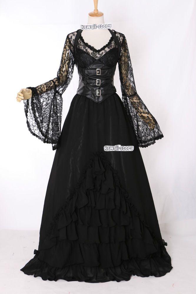 m 3404 gothic victorian kleid vampir schwarz cosplay. Black Bedroom Furniture Sets. Home Design Ideas