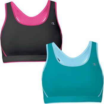 Costco: Champion Ladies' Reversible Sports Bra 2-Pack - Black/Pink ...