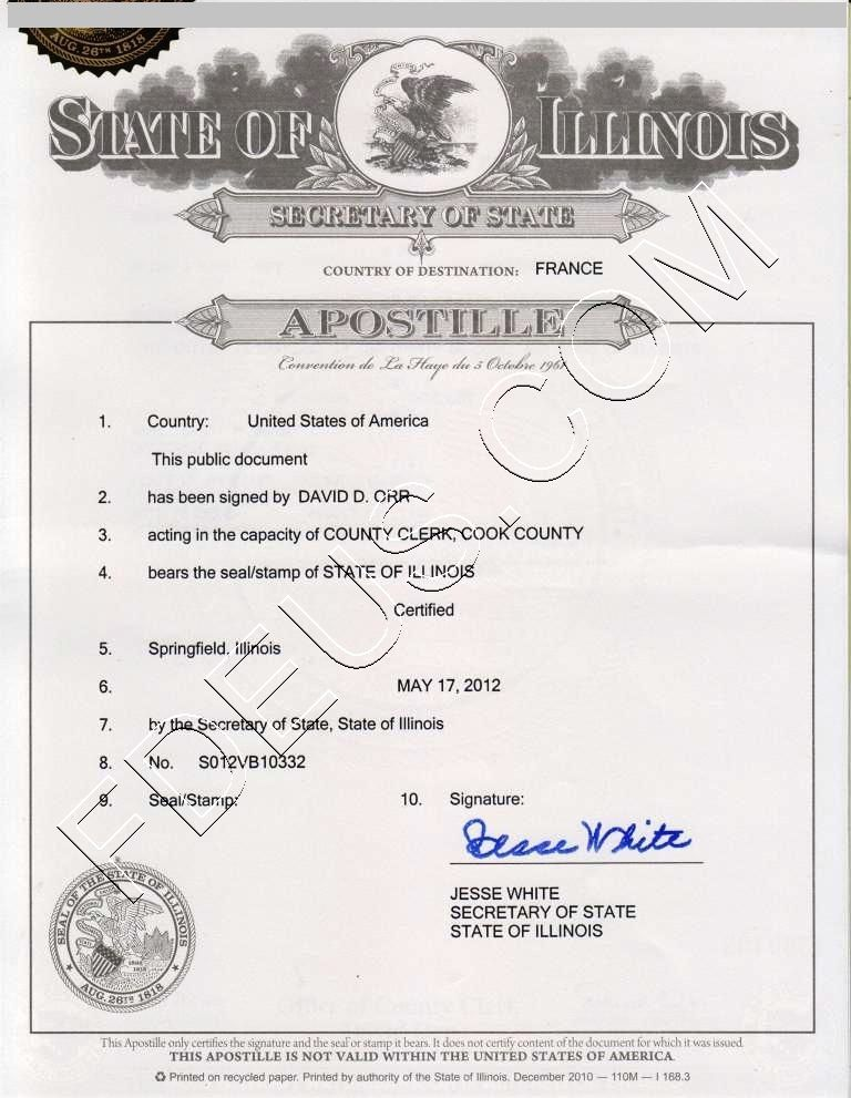 Illinois apostille The following documents are acceptable for - copy alameda county records birth certificate