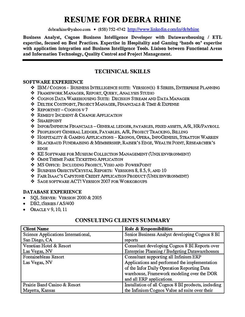 Business Intelligence Analyst Resume Magnificent Business Analyst Resume Describes The Skills And Expertise Of