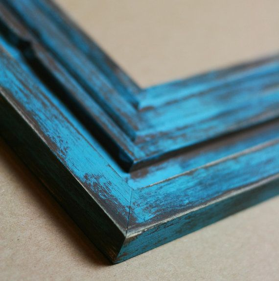 Distressed Blue on Brown Frame, Choose Your Size (4x6, 5x7, 6x8 ...