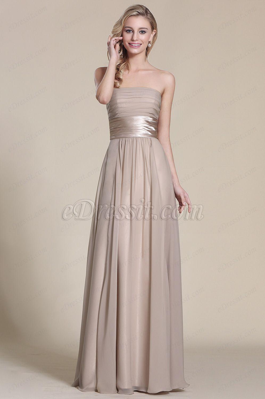 Strapless Grey Evening Gown Bridesmaid Dress (07151408 ...