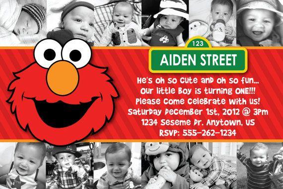 Custom Elmo Invitation Birthday Baby Shower Etc OR Thank You Card 12 Pic First Via Etsy