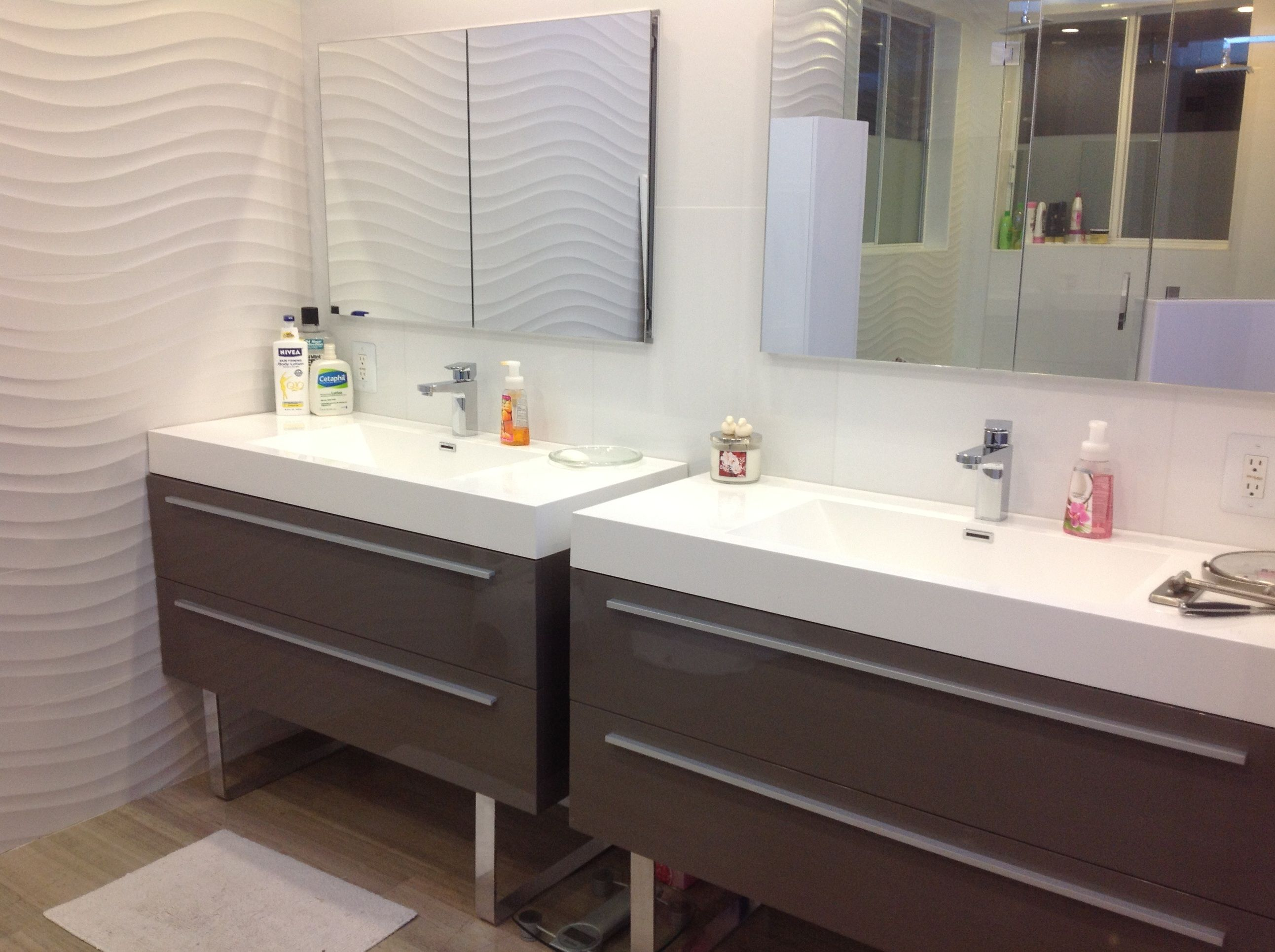 Modern His And Her's Bathroom Design. Vanities available ...