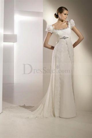 New Designing Gowns Scoop Juliet Sleeves Court Train | wedding ...