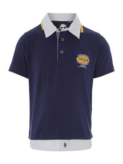 Timberland Boys Short Sleeves Polo Shirt. Navy, short sleeved polo shirt for boys.