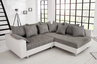 Design ecksofa  Design Ecksofa LOFT weiß Strukturstoff grau Federkern Sofa OT ...