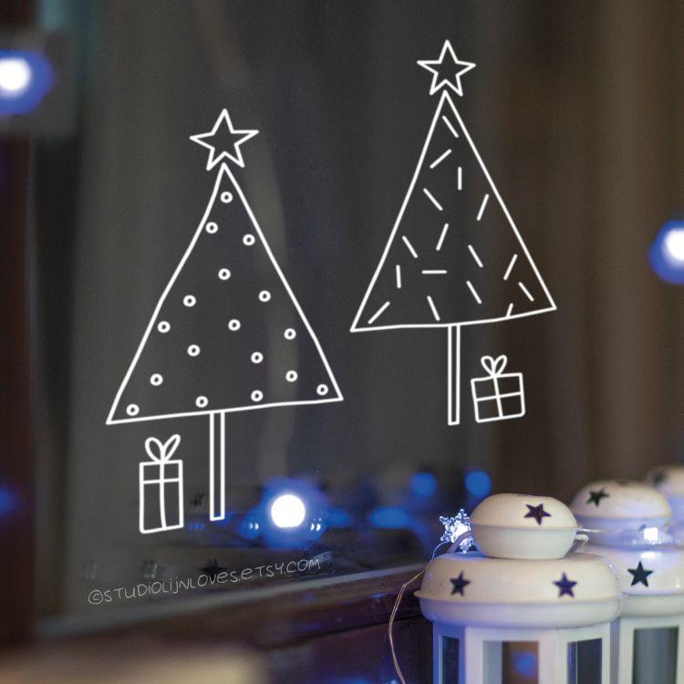 Kerstboompjes raamtekening