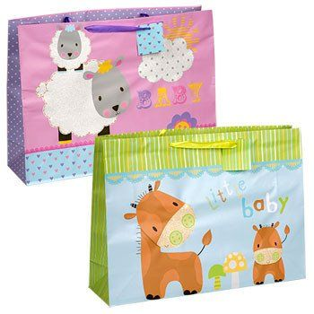 Voila Extra-Large Horizontal Baby Gift Bag with Ribbon Handle
