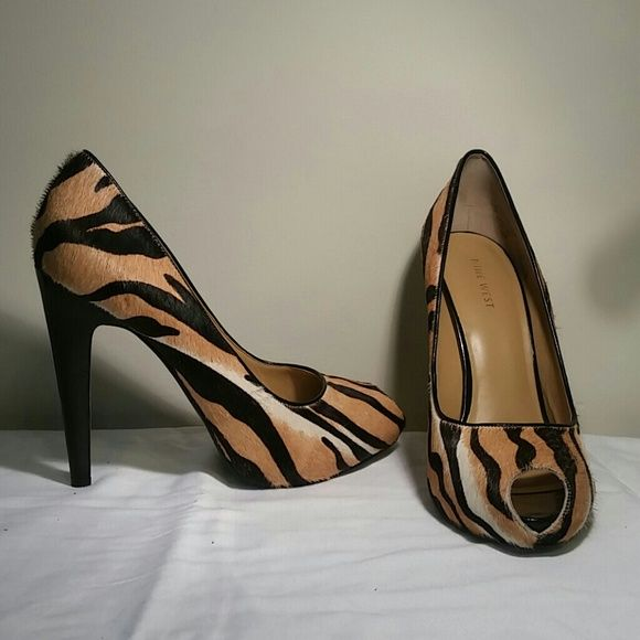2c9be626a9cae4 NINE WEST SANDALS Tiger print calf hair peep toe sandals. Excellent  condition. Worn three