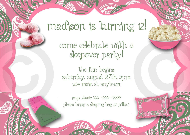Paisley Slumber Party Invitation