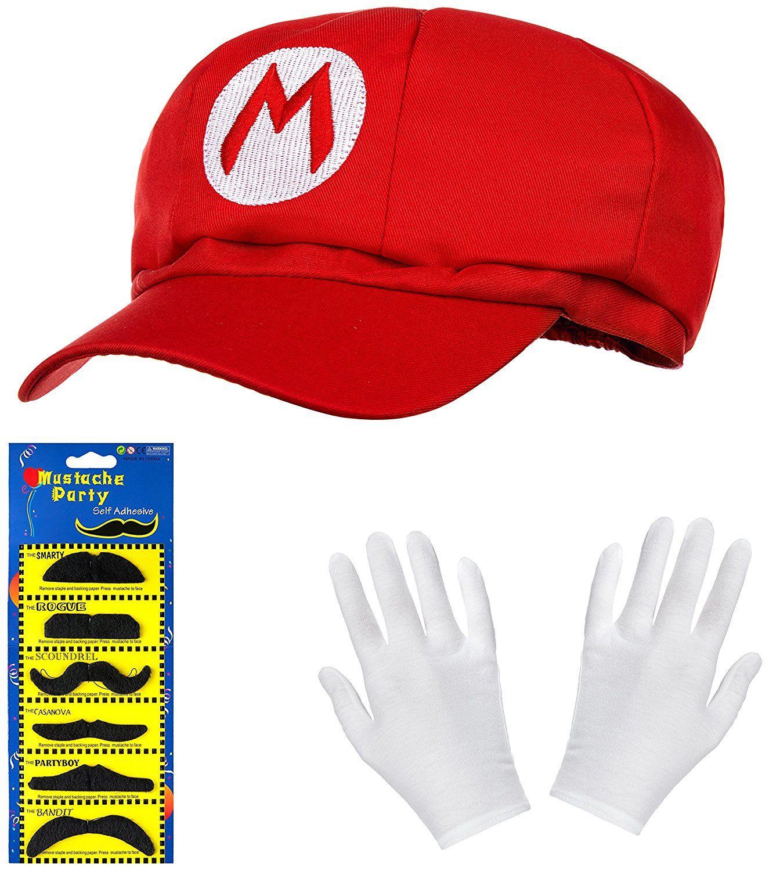 a4a96b3fe7651e Super Mario Mütze inklusive Bartset + ein Paar Handschuhe weiß Lustige Super  Mario Mütze, die
