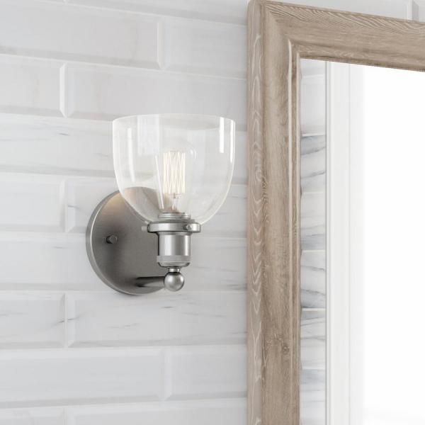 Photo of Home Decorators Collection Evelyn 1-light wall lamp made of brushed nickel HB2623-35 – The Home Depot