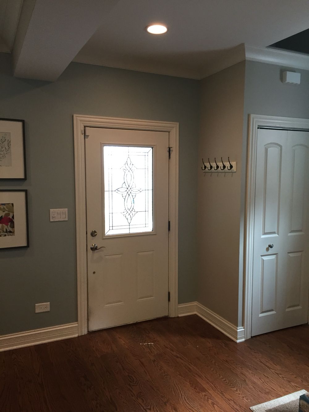 Entryway painted! Benjamin Moore Beach Glass and Revere Pewter ...