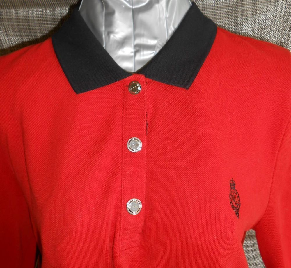Ralph lauren active shirt polo dress xl red black trim sleeve