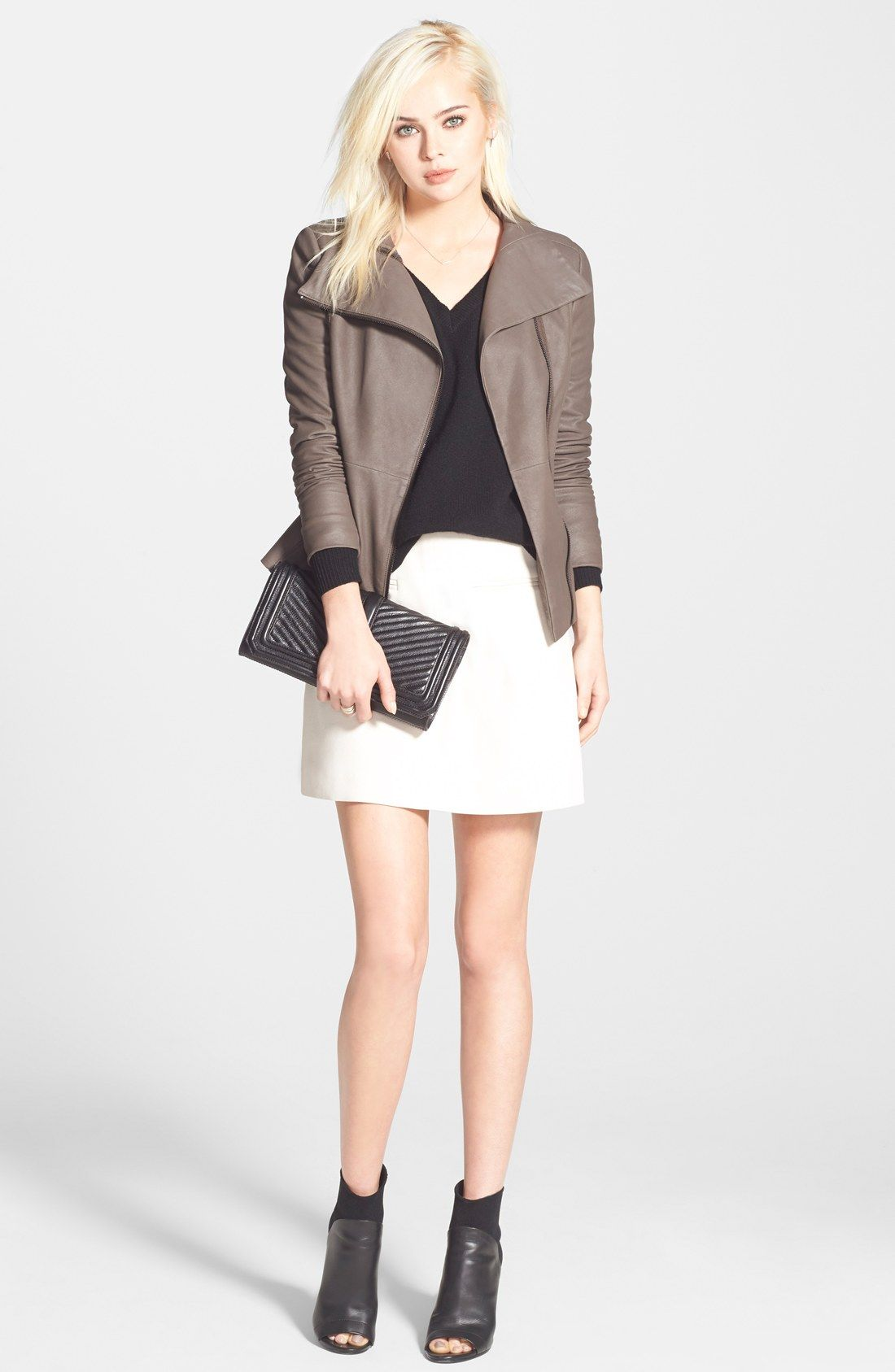 T Tahari Leather Moto Jacket Halogen Sweater Chelsea28 Skirt Nordstrom Collar Leather Jacket Gorgeous Clothes Clothes [ 1687 x 1100 Pixel ]