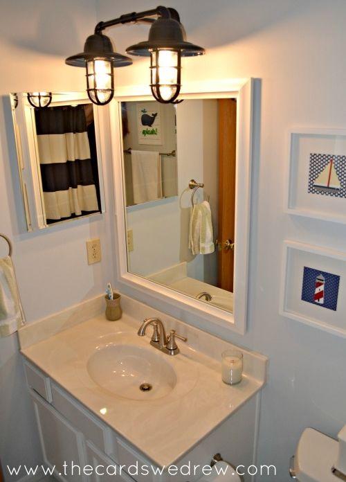Rustic Wall Sconces Add Nautical Splash To Bathroom Makeover - Splash guard for bathroom sink for bathroom decor ideas