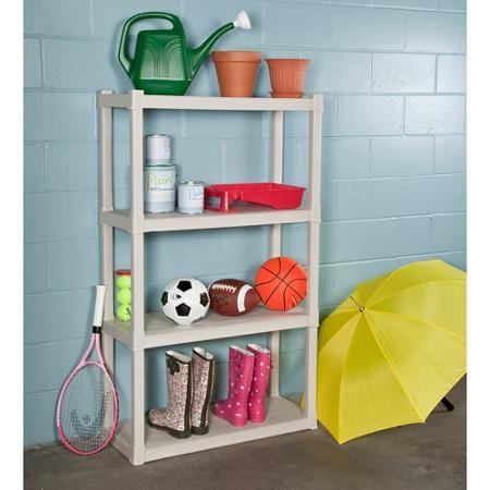 Sterilite Heavy Duty 4 Shelf Storage Shelving Unit Light
