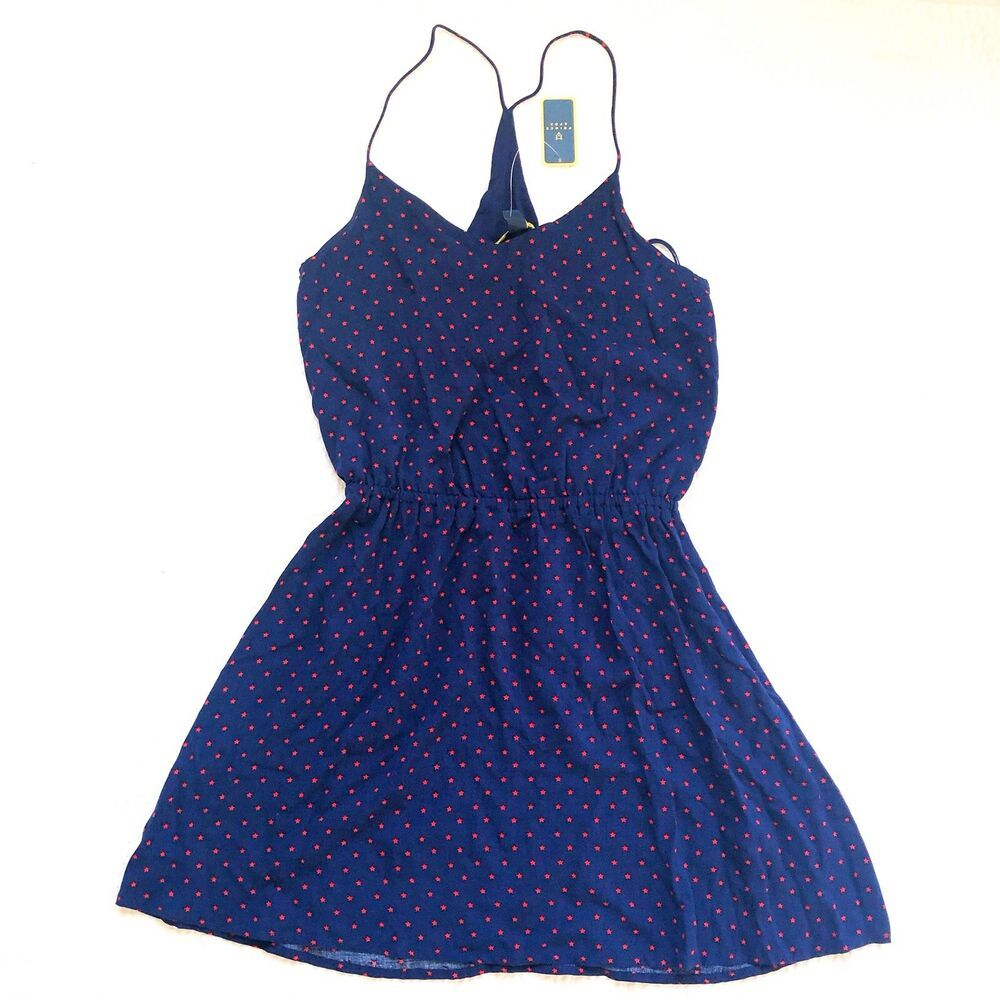 Prince Fox - Navy Blue Red Stars Spaghetti Strap V Neck Short Dress XS MRSP $50 #navyblueshortdress
